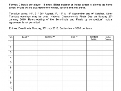 Entry form - Mixed Triples Competition 2018