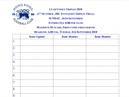 Club Unisex Triples one-day tornament 2018