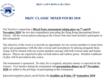 HKFC Classic Mixed Fours - Entries for Selection